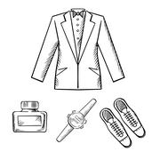 Male formal outfit with jacket, shoes, watch Stock Illustration