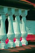 Stone Balustrade, railing, India - stock photo