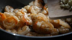 Fried Shrimps with Garlic - stock footage