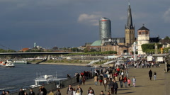 Rhine river promenade -Dusseldorf altstadt, Germany - stock footage
