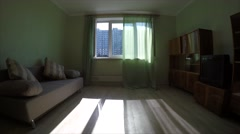 Living room of the apartment with the open window. Stock Footage