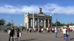 Main entrance to VDNKh (All-Russia Exhibition Centre). Moscow Stock Footage
