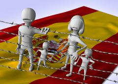 migration to europe concept - crisis in Spain - stock illustration