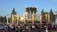 Crowd of vacationers people near the Friendship of the Peoples Fountain Stock Footage