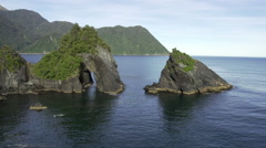 Aerial footage of the rugged west coast of the South Island Stock Footage