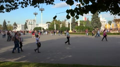 Vacationers people at the Central avenue of VDNKh Stock Footage