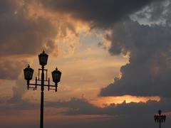 Streetlight against a decline - stock photo