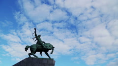 Floating clouds over monument of Salavat Yulayev Stock Footage