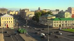 Road traffic at the Sadovaya-Kudrinskaya street in Moscow. Stock Footage