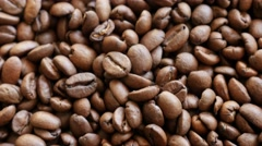 High quality Arabica coffee beans arranged for tilting over 4K 2160p UltraHD Stock Footage