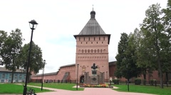 Entrance gate tower Saviour Monastery of St Euthymius, Suzdal, Russia. Stock Footage