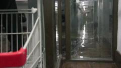 Flooded garage in the building after Hurricane and heavy rain Stock Footage