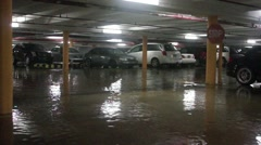 Flooded Garage in Miami High Rise Building Hurricane Storm Stock Footage