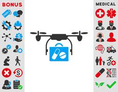 Medical Drone Shipment Icon Stock Illustration