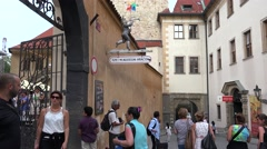 Tourists at the Entrance of the Toy Museum at Prague Castle. - stock footage