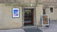 Entrance of the Toy Museum at the Prague Castle. Czech Republic. - stock footage
