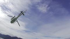 Helicopter flying over Lake Wanaka Stock Footage