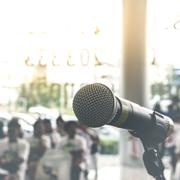 Microphone in seminar event , vintage style - stock photo