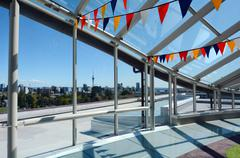 Auckland city skyline as view trough a big window glass Stock Photos