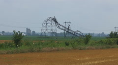 Hydro electric power transmission towers destroyed by tornado Stock Footage