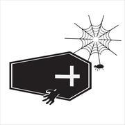 Ghost with casket halloween sign vector illustration - stock illustration