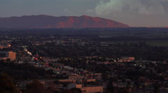 Sunset behind Ventura, Camarillo and Oxnard in California. Stock Footage