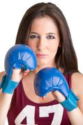 Female Boxer Ready to Fight - stock photo
