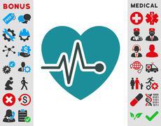 Heart Pulse Icon - stock illustration