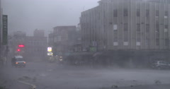Violent Wind Flying Debris Hit City As Hurricane Eyewall Makes Landfall Stock Footage