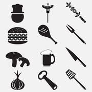 Utensil and food icon set illustration Stock Illustration