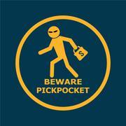 Stock Illustration of Beware pickpocket sign