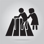 pedestrian crossing sign, elderly crossing road sign illustration - stock illustration