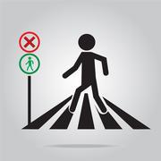 pedestrian crossing sign, school road sign illustration - stock illustration