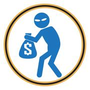 Beware pickpocket sign, thief icon illustration - stock illustration