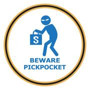Stock Illustration of Beware pickpocket sign, thief icon illustration