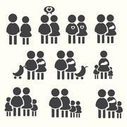 Stock Illustration of Family icons set, avater vector illustration
