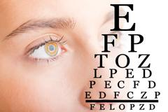 Close up of Womans Face With Eye Chart Stock Photos