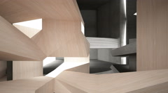 Abstract interior of wood, glass and concrete. 3D rendering. animation Stock Footage