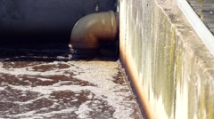 Dirty waste water in sewage plant Stock Footage