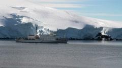 Ship Cruising In Antarctica - stock footage