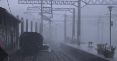 Violent Hurricane Winds Hit Railway Yard Stock Footage