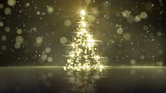 christmas tree shape of gold glares loopable - stock footage