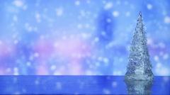 christmas tree and snowfall on background seamless loop - stock footage