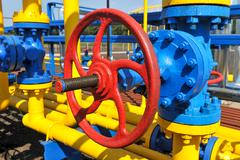Handle gate valve with steel pipe Stock Photos