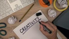 Stock Video Footage of Graphic designer writing word Creativity on paper