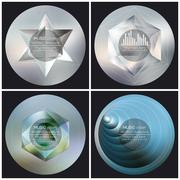 Stock Illustration of Set of 4 music album cover templates. Abstract backgrounds. Geometrical patterns