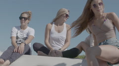 Party Lifestyle - Young people partying on a water ski sport boat in the summer - stock footage