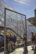 Musee du Louvre sign - stock photo