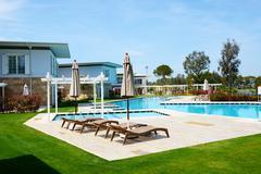 The swimming pool at luxury hotel, Antalya, Turkey - stock photo