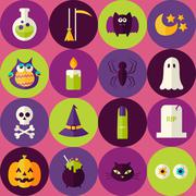 Flat Halloween Scary Witch Seamless Pattern with Colorful Circles - stock illustration